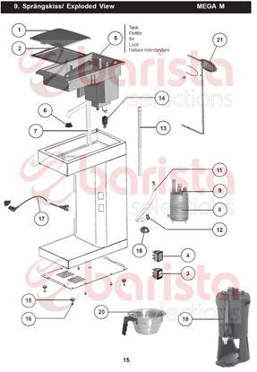 Εικόνα της Coffee Queen Mega Gold M Bodywork Spare Parts Filter holder/stainless (See Image Item 20)