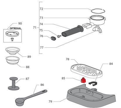 Picture of Gaggia New Baby Spare Parts 2-way Spout Chrome (see Image Item 77)