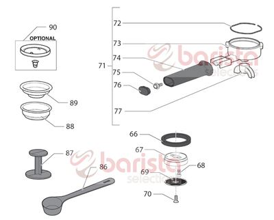 Picture of Gaggia New Baby Class Spare Parts 6x16 Galvan. Special Screw (See Image Item 75)