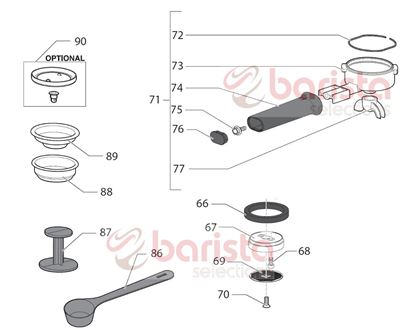 Picture of Gaggia New Baby Class Spare Parts Filter Holder Cup (See Image Item 73)