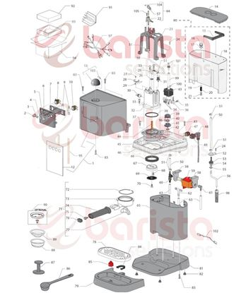 Picture of Gaggia New Baby Spare Parts External Box New Baby06/espresso06 (see Image Item 94)