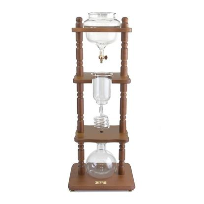 Picture of Cold Drip Maker 6-8 cups Curved Brown Wood Frame (32oz)