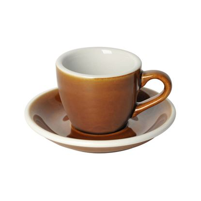 Loveramics Egg - Espresso 80ml Cup and Saucer - Caramel color