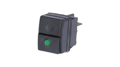 BLACK BIPOLAR SWITCH WITH GREEN LED 250V 16A